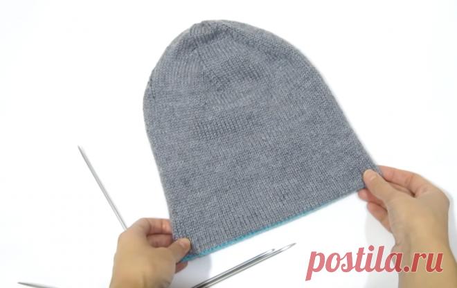 Тёплая двухслойная шапка спицами для мужчин... и не только | Тепло о вязании | Яндекс Дзен