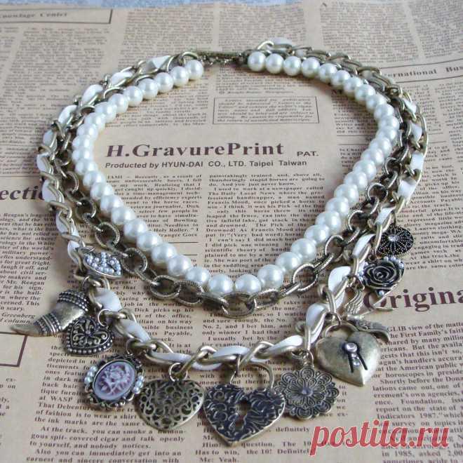 Купить Колье с Сердечками . Купить стильные Колье/Ожерелья. Модные Бижутерия купить