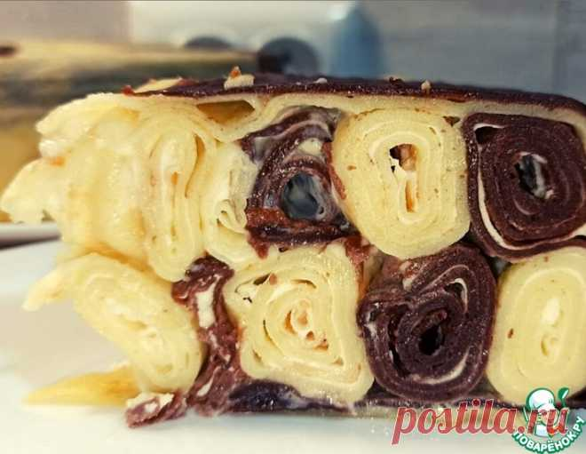 Шоколадно-ванильный блинный торт – кулинарный рецепт