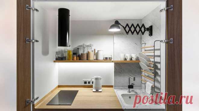 Кухня трансформер в шкафу в маленькой квартире 33 м2 | Кухня для счастья | Яндекс Дзен