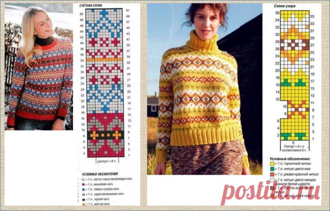 Несколько сотен цветных жаккардовых полосок в стиле Fair Isle - образцы плюс схемы