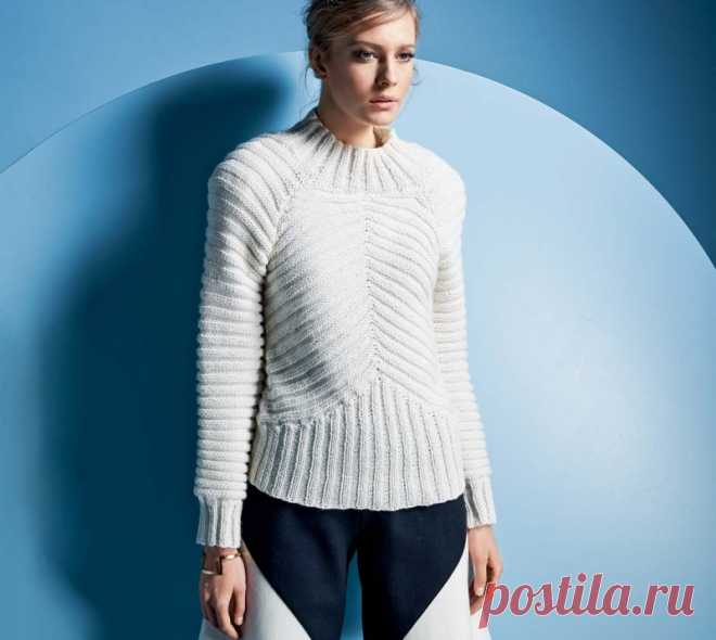 Стильный сдержанный свитер Эффектный свитер с рельефным узором требует большой тщательности исполнения.
