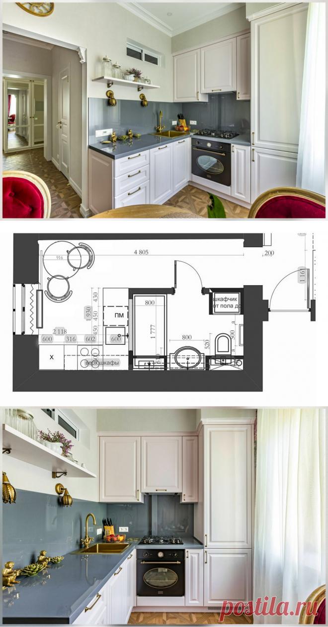 Кухня. Нежная и спокойная классика на 6 м2. | Кухня для счастья | Яндекс Дзен