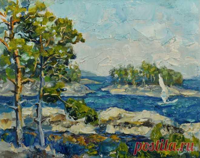 Пейзаж озера Оригинальная картина маслом Парус Острова | Etsy