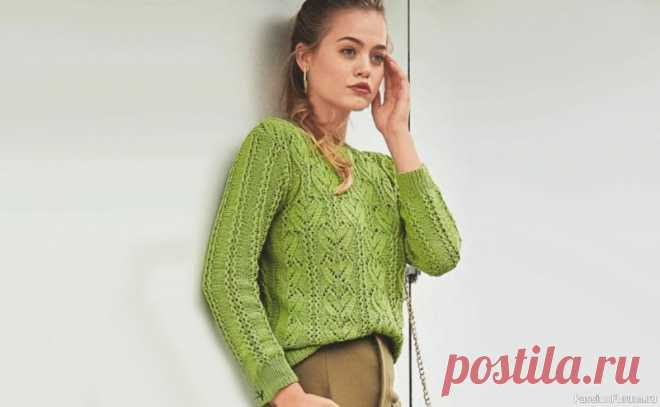 Зеленый ажурный пуловер. Схема и описание   Вязание для женщин спицами. Схемы вязания спицами Яблочно-зеленый пуловер хорош не только эластичной хлопчатобумажной пряжей, но и затейливой комбинацией из «листьев» и ажурных полос.Ажурный пуловер для женщин, схема с описанием вязания спицами.Размеры:36/38 (40/42) 44/46Вам потребуется:пряжа (96% хлопка, 4% полиэстера; 160 м/50 г) - 400...