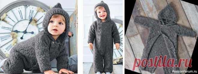 Комбинезон с капюшоном для малышей до 12 месяцев | Вязание спицами для детей Удобный и практичный комбинезон с капюшоном для новорожденных связан спицами. Детский вязаный спицами комбинезон схемы и описание вязания для начинающих.Размеры:0/1/3/6/12 месяцевВам потребуется:4/5/6/7/8 мотков серой (арт. 224.101) пряжи Bergere de France Baltic (60% акрила, 40%...