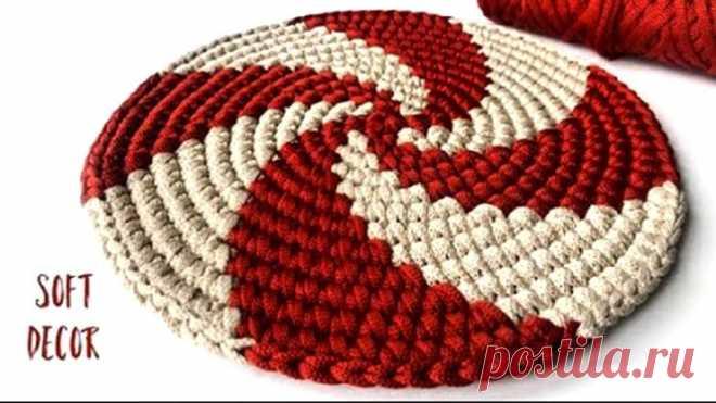 😃 В эту спираль влюбились все | Круглый коврик крючком из шнура (Вязание крючком) – Журнал Вдохновение Рукодельницы