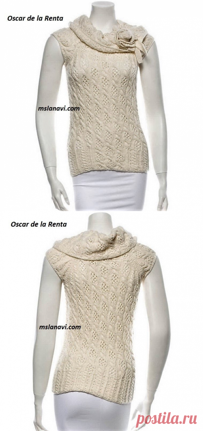 Летняя кофточка спицами от Oscar de la Renta | Вяжем с Лана Ви