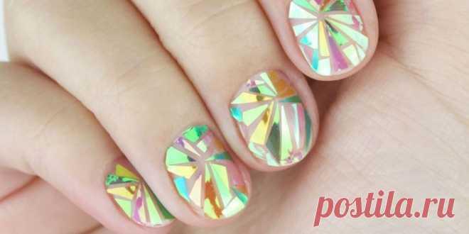 Маникюр Битое стекло - как сделать модный дизайн ногтей в домашних условиях с фото и видео