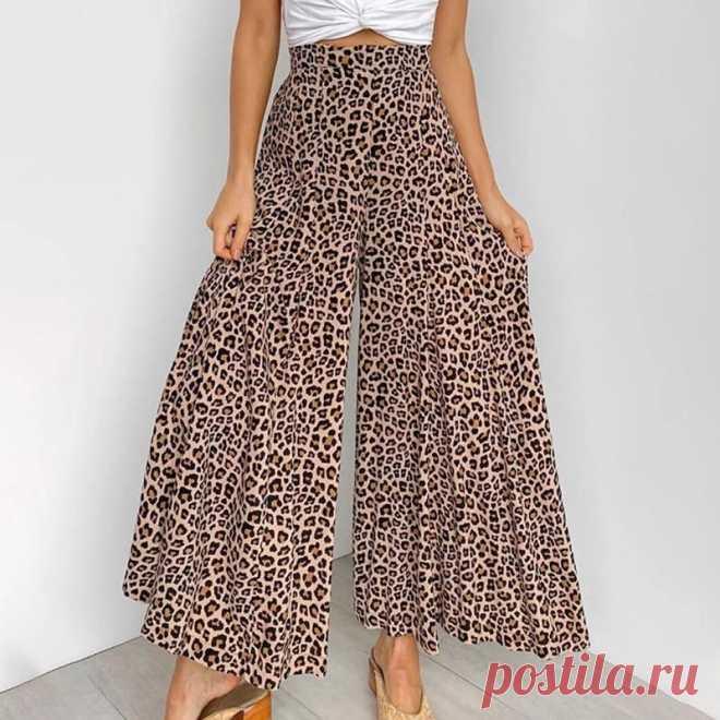 Модные летние элегантные повседневные брюки 2020 женские леопардовые свободные хлопковые брюки с высокой талией женские широкие брюки | Брюки