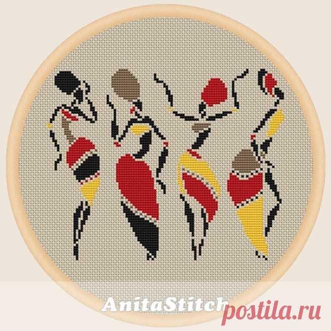 African dancing women Cross stitch pattern | Etsy