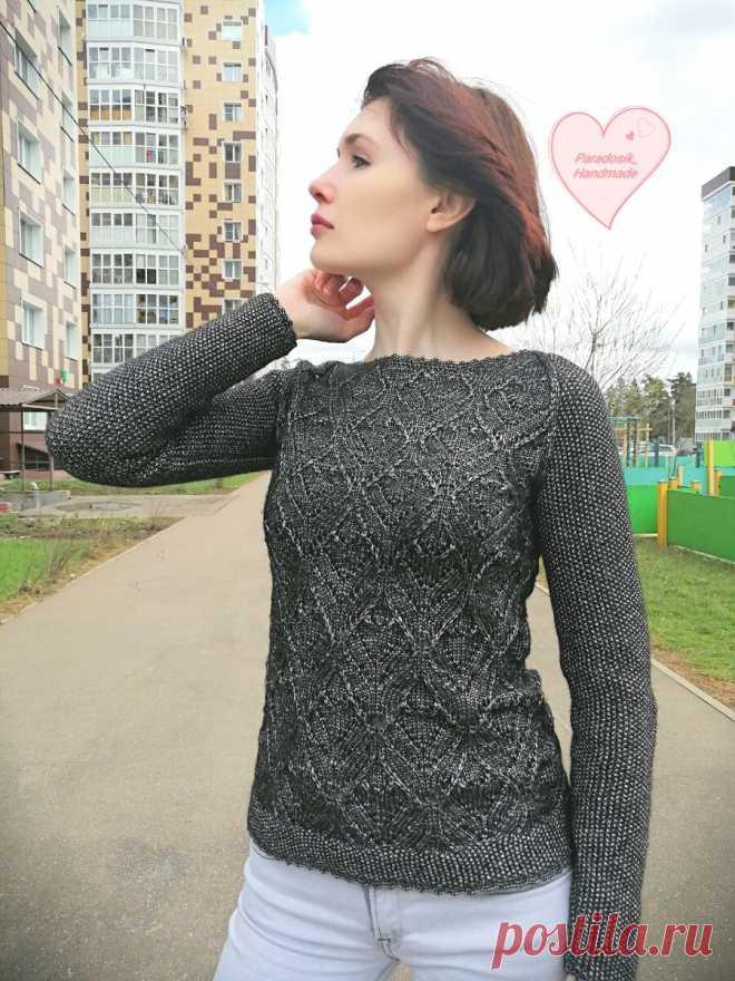 Джемпер «Чёрная жемчужина» спицами. Автор Paradosik_Handmade