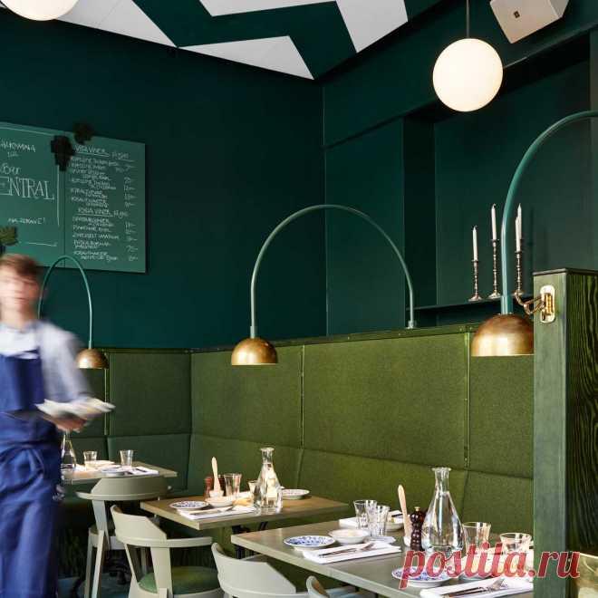 Европейский Дизайн - Бар-ресторан в красно-зеленом цвете