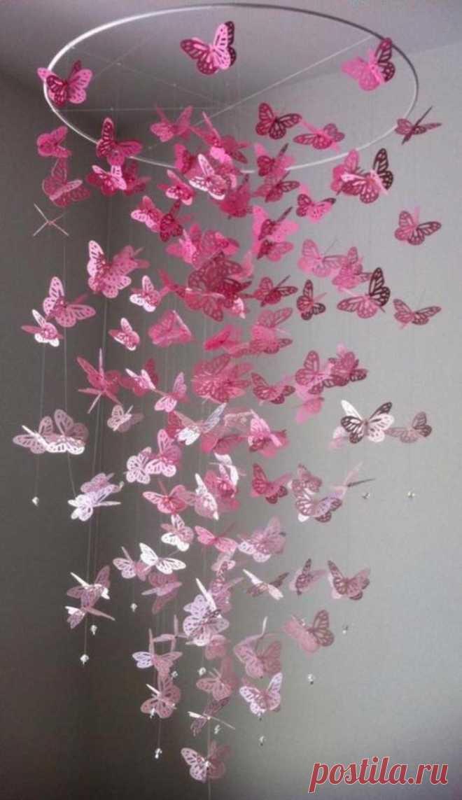 Сделать люстру из бабочек своими руками