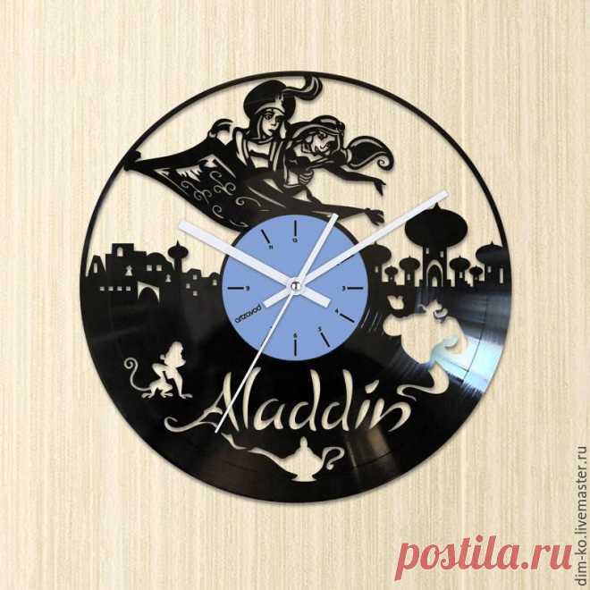 Часы настенные из виниловой пластинки Aladdin – купить в интернет-магазине на Ярмарке Мастеров с доставкой Часы настенные из виниловой пластинки Aladdin - купить или заказать в интернет-магазине на Ярмарке Мастеров | Часы изготовлены из старых виниловых пластинок.