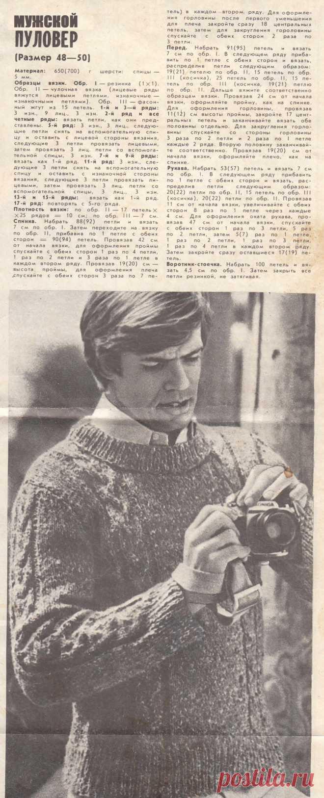 Мужской пуловер с фасонными жгутами