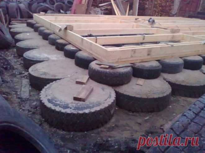 Полезное применение старых шин на даче и в гараже