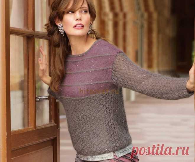 Схемы женского пуловера связанного спицами