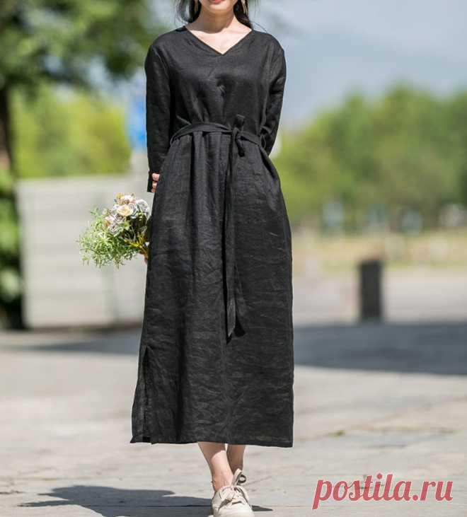 Womens Dress linen kaftan Women long Dress Linen solid | Etsy