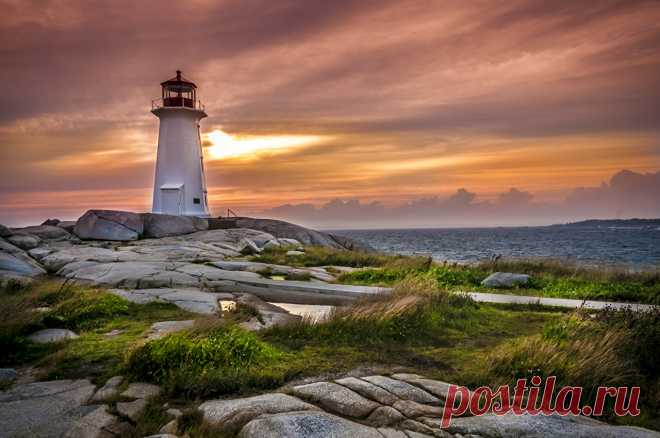 Wall-paper Canada Peggys Point Lighthouse Beacons Nature Sky Dawn and