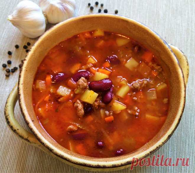 Томатный суп из фасоли с фаршем   Поделки, рукоделки, рецепты   Яндекс Дзен