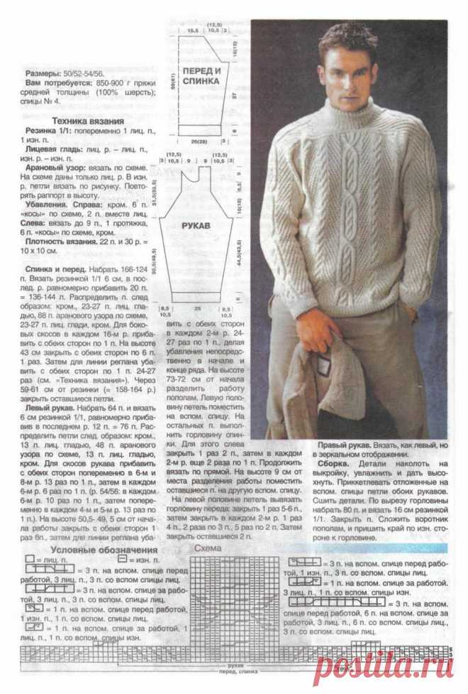 Вязание на спицах джемпера для мужчин спицами
