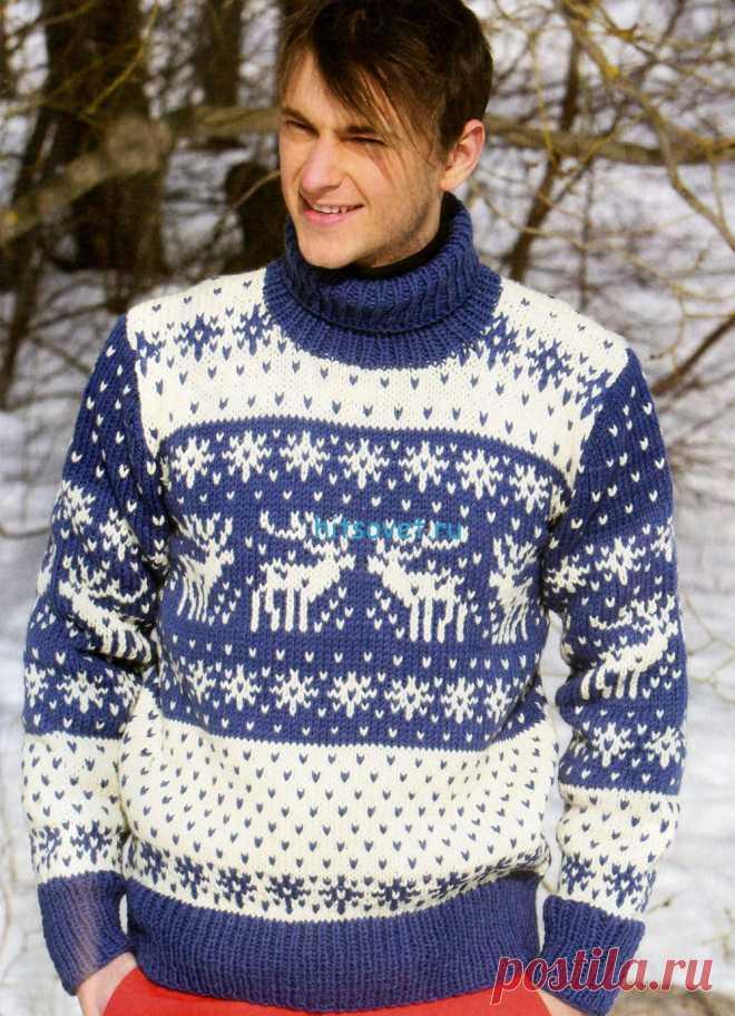Мужской свитер с оленями - Хитсовет Мужской свитер с оленями. Модная модель мужского свитера с оленями со схемой и описанием вязания. Вам потребуется: пряжа Novita Isoveli (75% шерсть, 25% полиамид, 65м/50г)  500(550)550(600)600 г синего цвета (175), (500)500(550) 550 г белого цвета (010), спицы №5.5 и №6, круговые спицы №5,5 (длиной 40 см).
