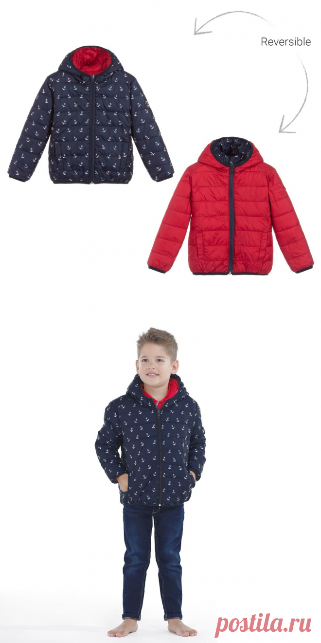 Week-end à la mer - Red & Blue Reversible Jacket   Childrensalon