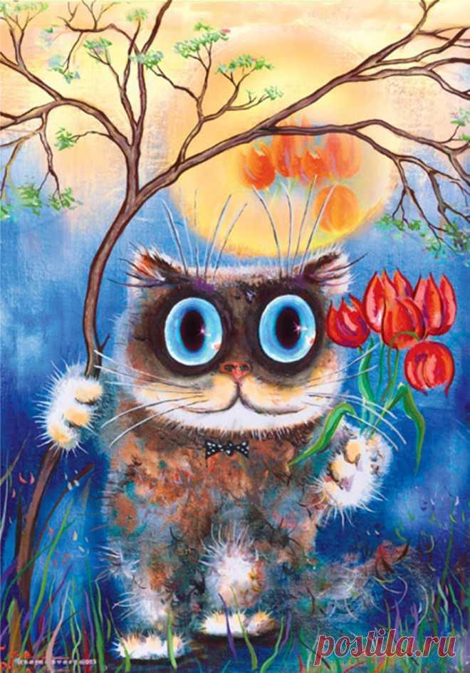 Лица, открытки коты рисованные