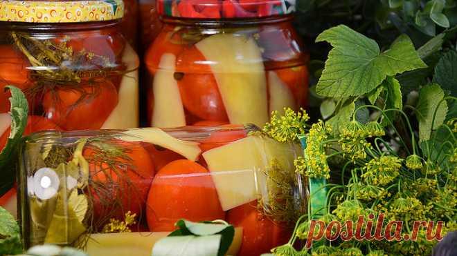 Консервированные помидоры с болгарским перцем на зиму. Пошаговый рецепт