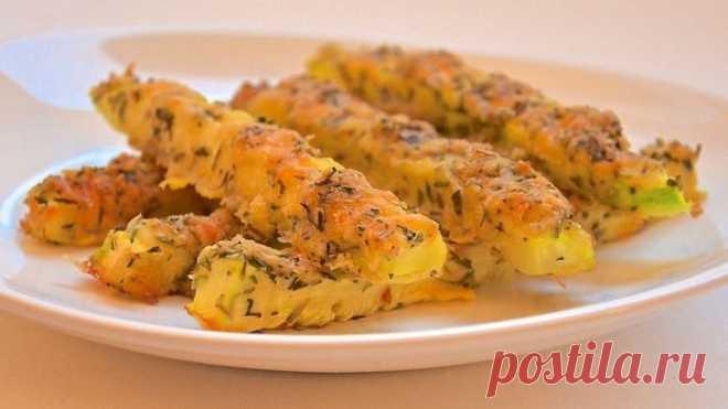 Кабачки запеченные в сырной панировке в духовке