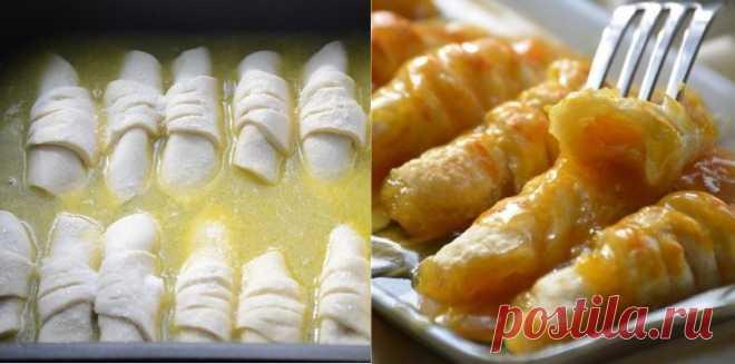 Хрустящие слойки с мандаринами в карамельном сиропе