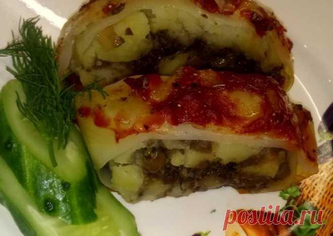 Капустный рулет с картофелем и грибами - пошаговый рецепт с фото. Автор рецепта Надежда Хлыщева . - Cookpad