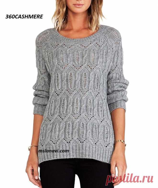 Вязаный пуловер от 360CASHMERE - Вяжем с Лана Ви Вязаный пуловер спицами от 360CASHMERE—красивый пуловер из интернет-магазина Revolveclothing.В данной моделиобъединены оригинальный арановый узор со спущенной петлей, рукава реглани круглая горловина. Состав фабричной пряжи:35% акрил, 35% шерсть мериноса, 30% альпака.Спинкасвязана изнаночной гладью. Резинка на манжетах, 2 лицевые к 2-м изнаночным петлям, высотой около 8 см, аналогичная — наспинке и переде пуловера. ...