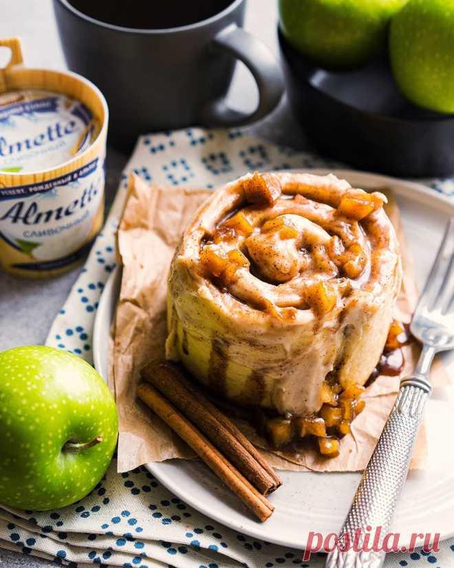 Булочки с корицей (синнабон), яблоками и сливочным кремом   Andy Chef (Энди Шеф) — блог о еде и путешествиях, пошаговые рецепты, интернет-магазин для кондитеров  