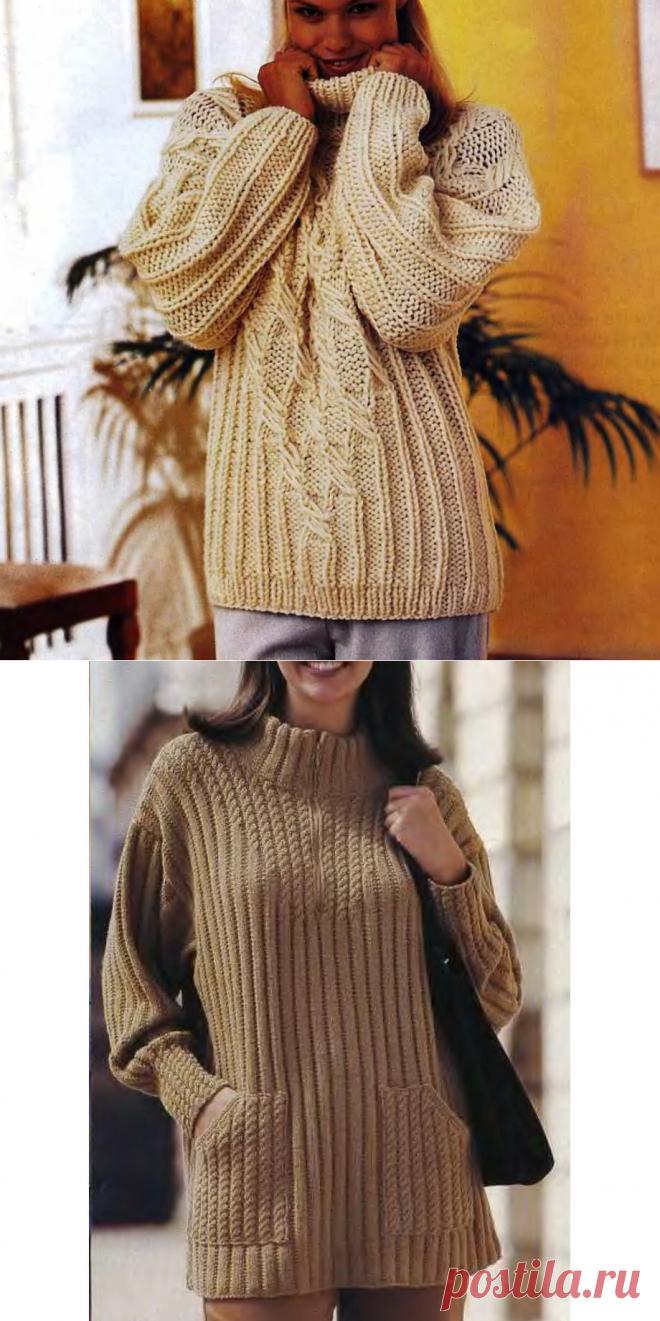 Пуловеры, кардиганы и свитеры простым узором крупной вязки | Всё лучшее - маме | Яндекс Дзен