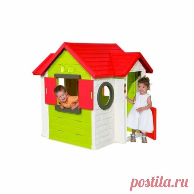 Оригинальный игровой коттедж предназначен для малышей от 1 года.Его можно установить на приусадебном участке или уличной детской площадке. Он выполнен из легкого, но при этом очень прочного пластика, устойчивого к воздействию погодных условий. Модель имеет устойчивое основание, что позволит родителям не беспокоится о безопасности ребенка во время игры.