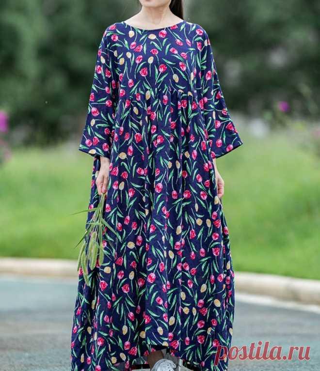 Women's blue Plus size dress Loose Fitting dress boho | Etsy