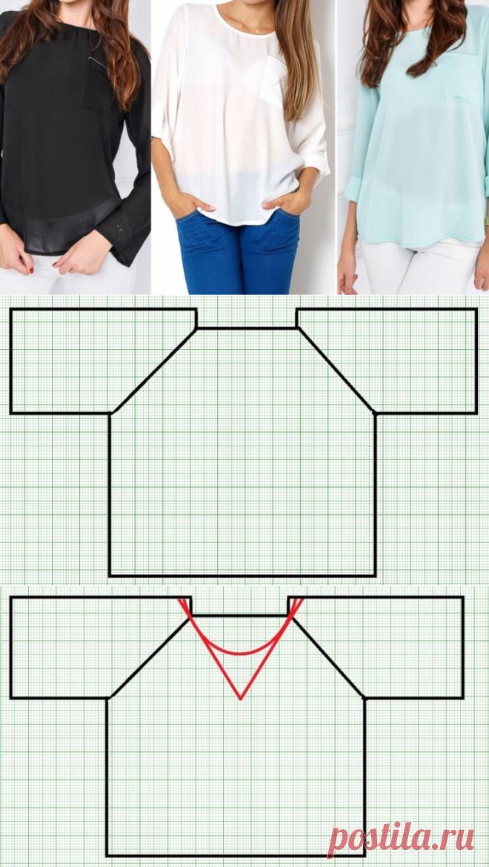 Простые блузы с рукавом реглан. Подборка выкроек и идеи (Шитье и крой) – Журнал Вдохновение Рукодельницы