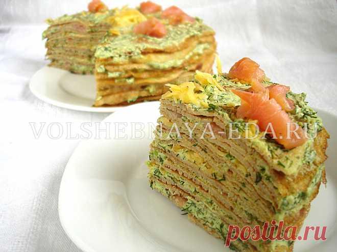 Торт из гречневых блинов и семги Гречневый блинный торт, как его пекут французские хозяйки.