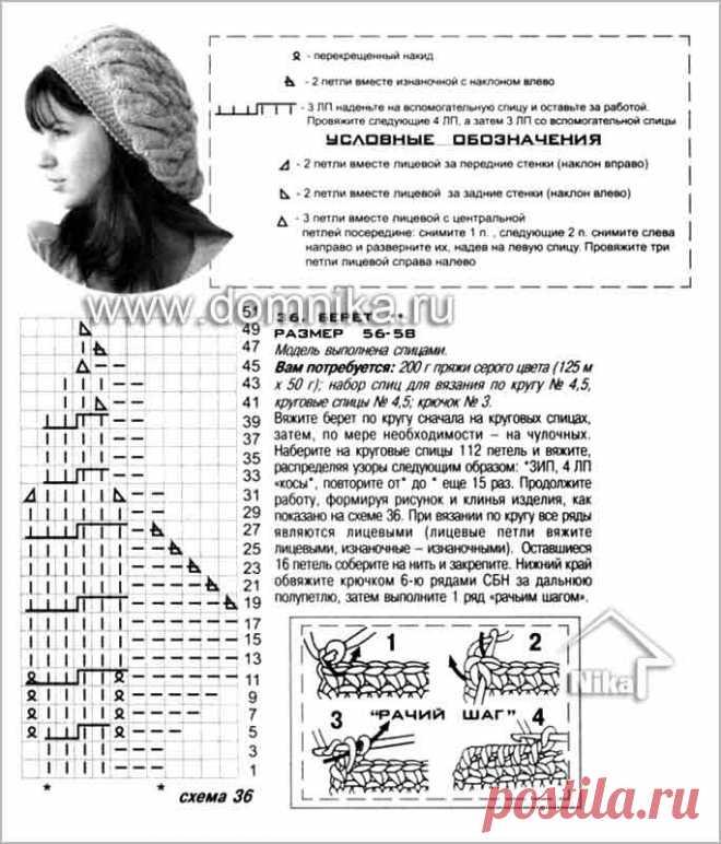 вязаные береты 2015-2016 со схемами спицами женские с ...
