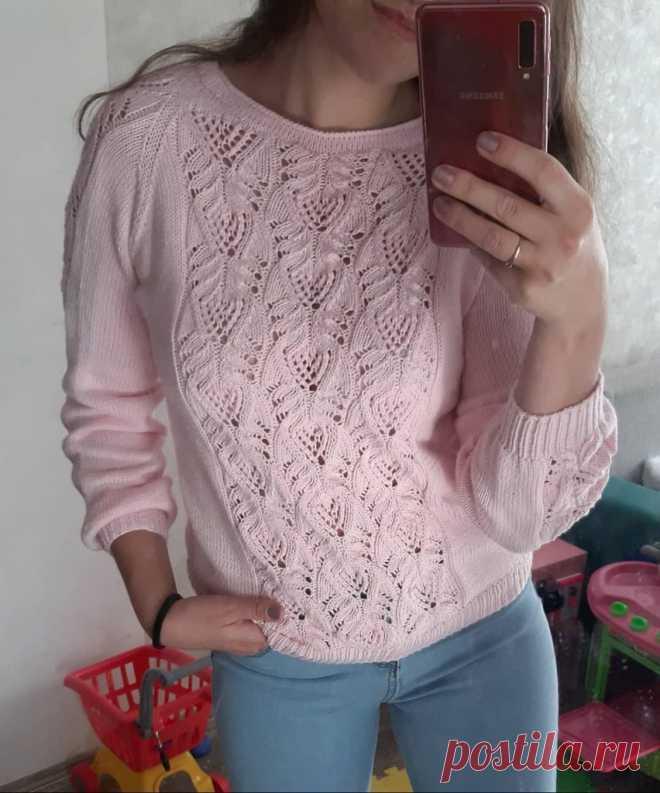 Пуловер спицами японским узором