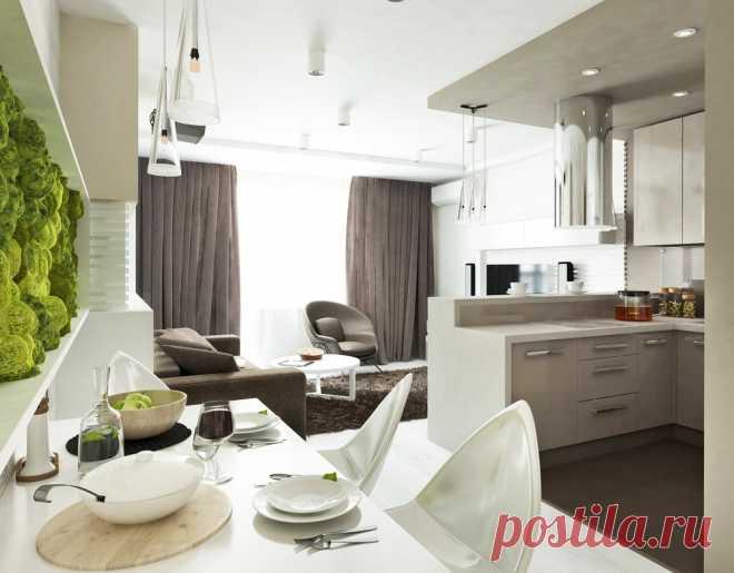 Необычная гостиная с мини-кухней | Роскошь и уют