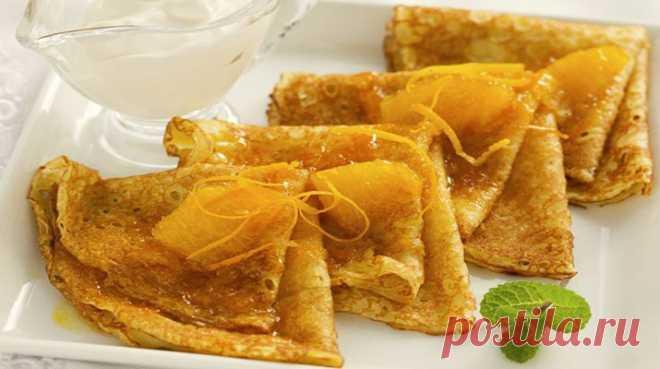 Рецепт ажурных тонких апельсиновых блинчиков