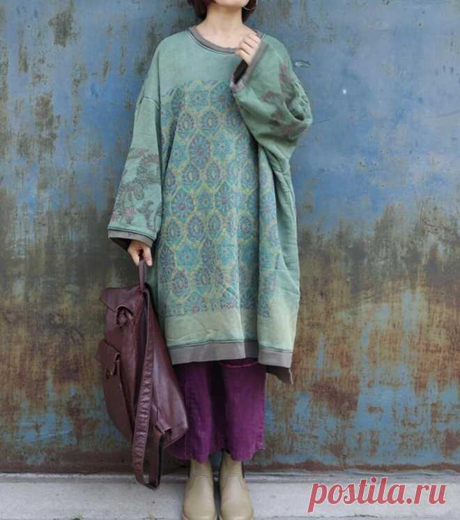 Women Dress Cotton green midi dress plus size dress round | Etsy