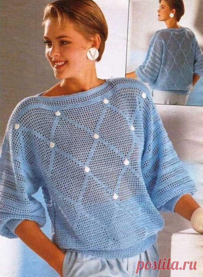 Филейные джемперы прошлых лет сегодня и сейчас....   Asha. Вязание и дизайн.🌶   Яндекс Дзен