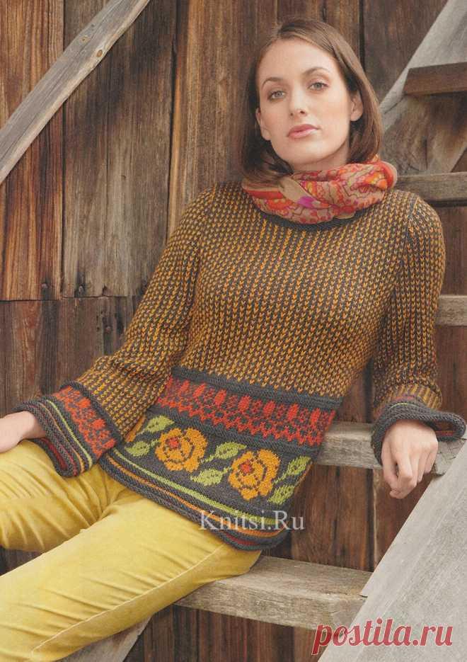 Пуловер с миксом жаккардовых узоров спицами
