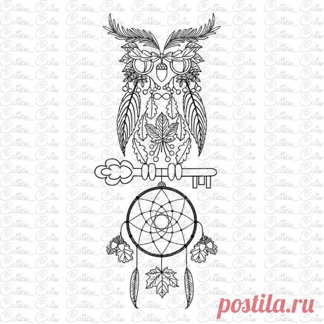 Owl with key Svg dreamcatcher Eps Dxf Png vector files dream catcher ...