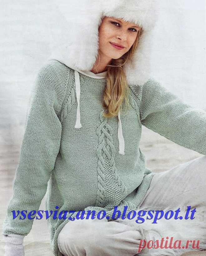 Пуловер-реглан мятного цвета и А-образного силуэта