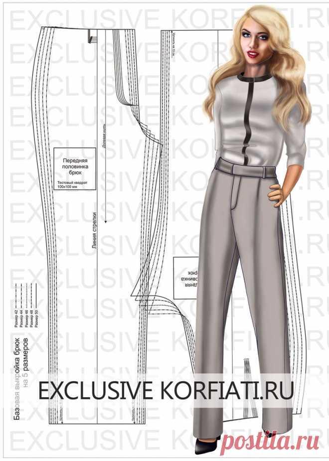 Базовая выкройка брюк для скачивания от Анастасии Корфиати Базовая выкройка брюк для скачивания - это основа для моделирования любых фасонов брюк и именно выкройка-основа вам потребуется, чтобы смоделировать и сшить